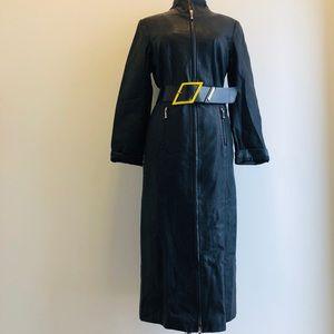 VTG Black Leather Dress Full Zip Pencil Skirt